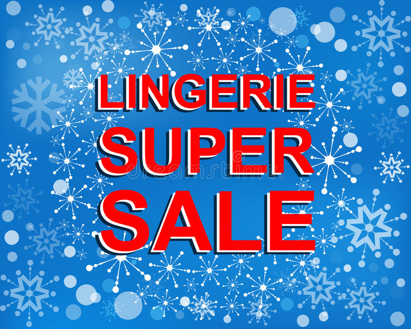 Big winter sale poster with LINGERIE SUPER SALE text. Advertising vector banner. Big winter sale poster with LINGERIE SUPER SALE text. Advertising blue and red royalty free illustration