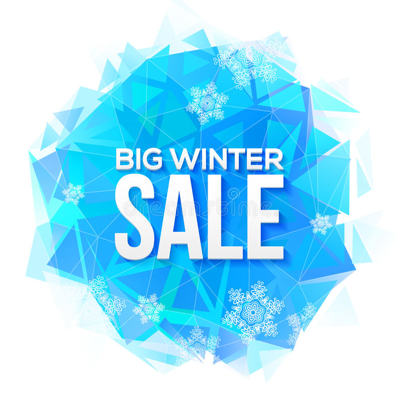 Free Big Winter Sale Sign On Blue Ice And Snowflakes Royalty Free Stock Photos - 58421448