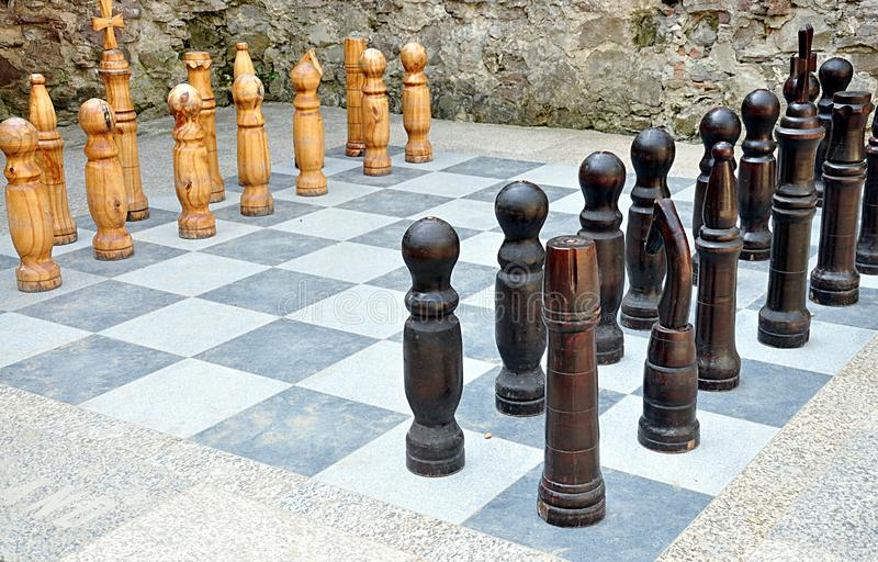 Big wood chess royalty free stock image