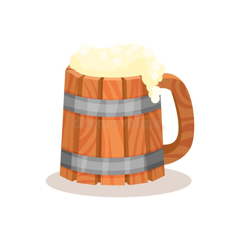 Big wooden mug of beer with foam. Alcoholic drink. Flat vector element for banner of tavern or bar vector illustration
