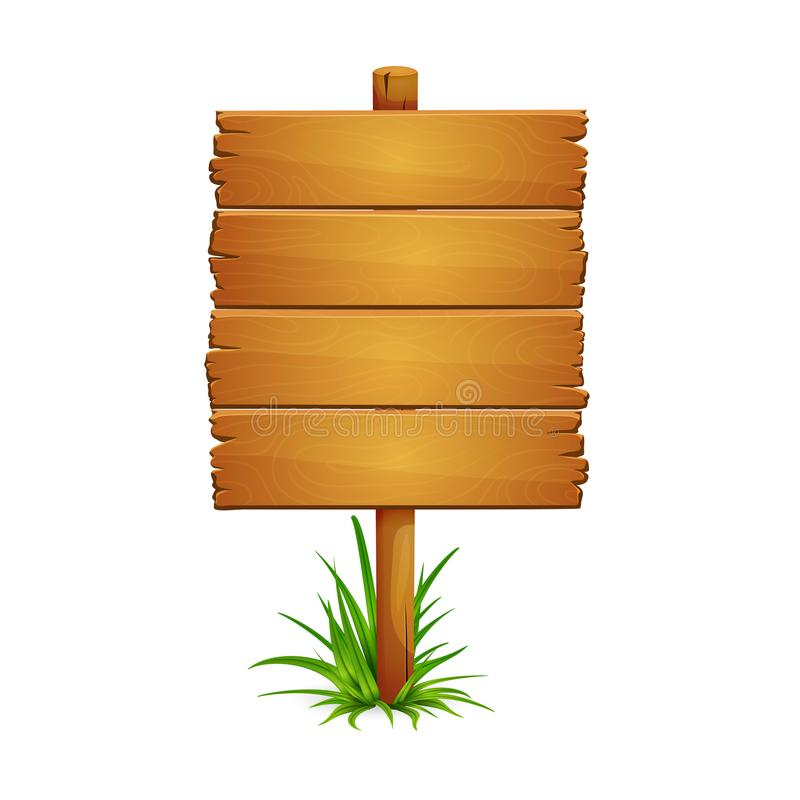 Big wooden signpost. Illustration of large wooden plank signpost with bunch of grass isolated on white background. Signboard is made of four planks stock illustration