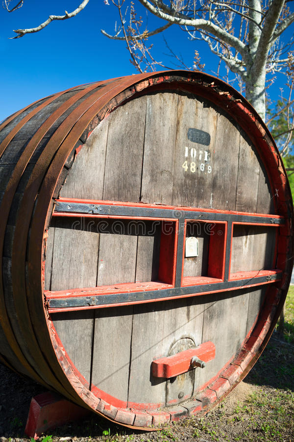 Big Wooden Wine Barrel. A big and weathered wooden wine barrel royalty free stock image