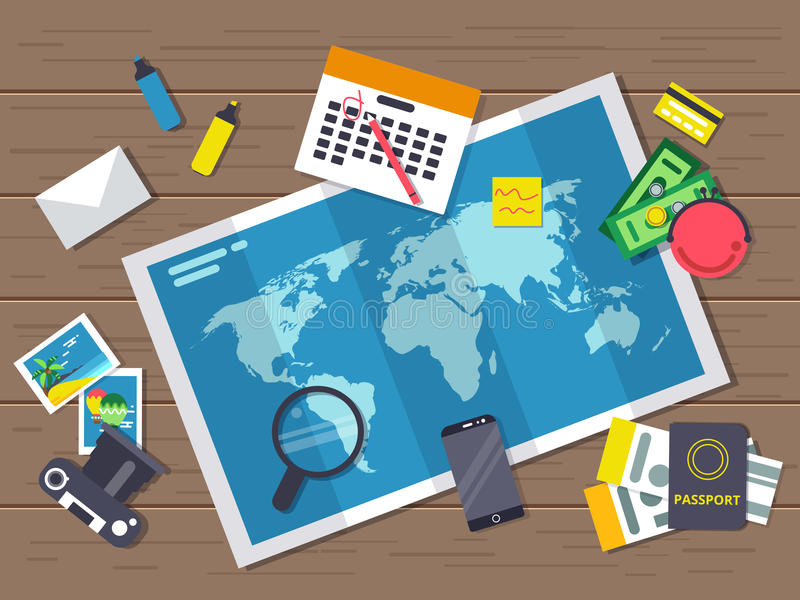 Big world map with different traveling elements on it. Planning of summer vacation route. Vector illustrations in flat stock illustration