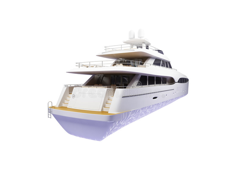 Download Big Yacht Isolated Back View Stock Photos - Image: 3524623