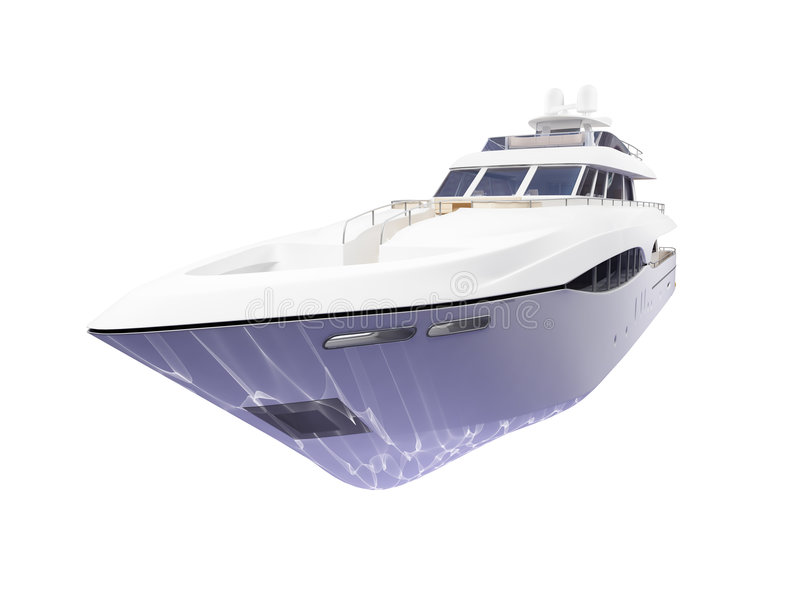 Big yacht isolated front view stock photography