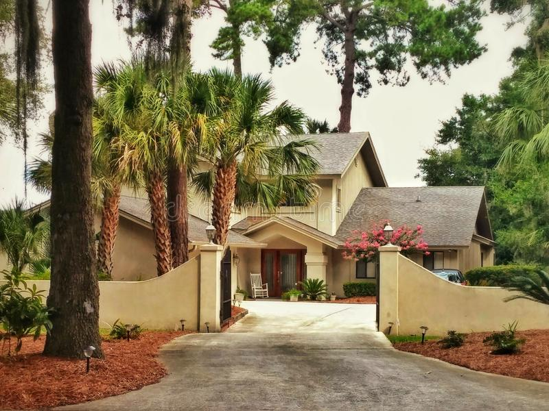 Big yellow american house with palm trees in the woods. American home style surrounded with pines and palms stock image