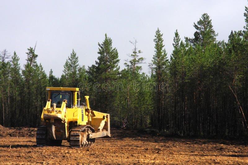 Bulldozer at construction site stock image