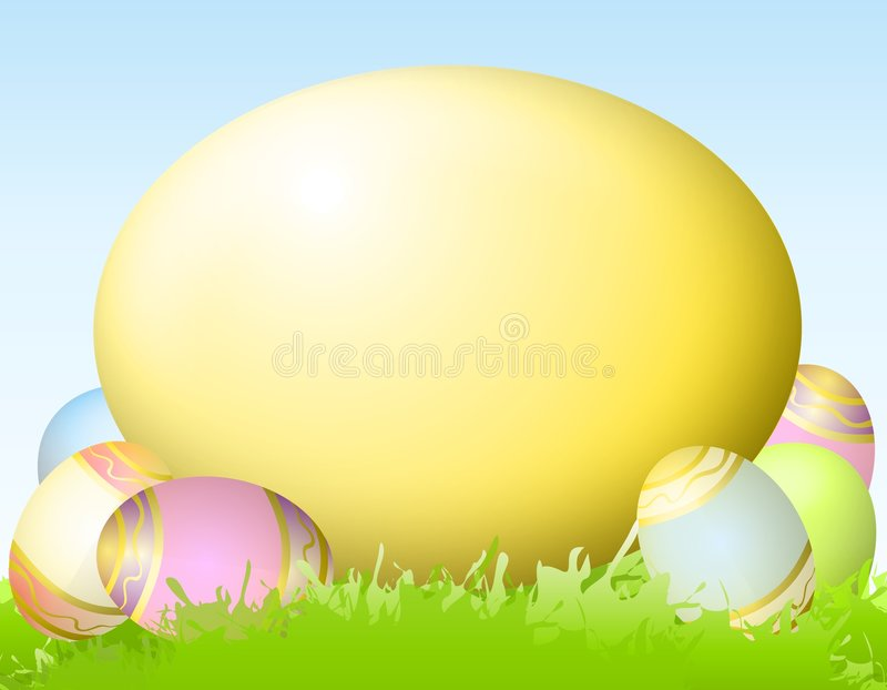 Big Yellow Easter Egg. A background featuring a big yellow Easter egg surrounded by smaller decorated eggs sitting in the green spring grass