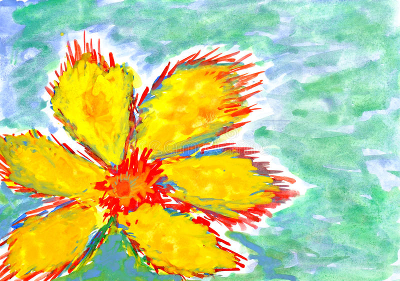 Big yellow flower. wetercolor drawing stock illustration
