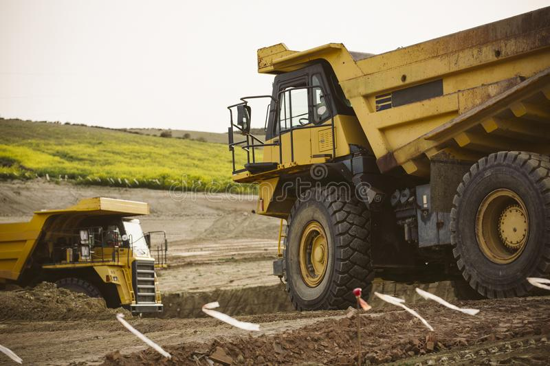 Big yellow mining truck. stock images