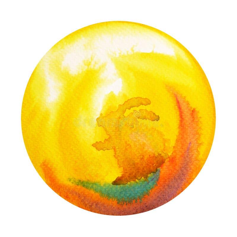 Big yellow rabbit full moon round circle watercolor painting royalty free illustration