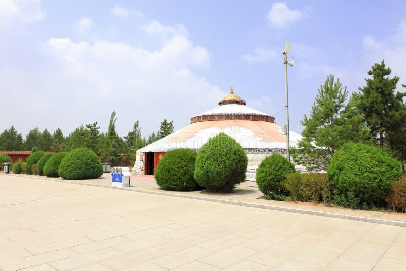 Big yurt of genghis khan mausoleum, adobe rgb. Yurts of genghis khan mausoleum at ordos city, china. tiemuzhen, may 31, 1162 - august 25, 1227, khan of great stock photography