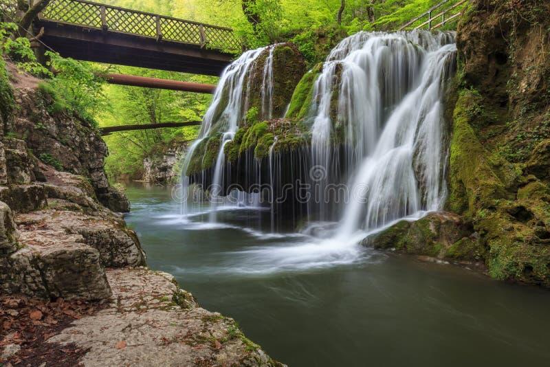 Bigar Cascade Falls in Nera Beusnita Gorges National Park, Romania stock photos