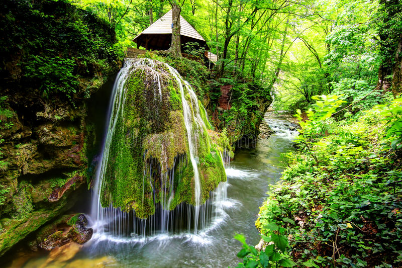 Bigar waterfall, Romania. Bigar waterfall is situated on 45 Parallel, in the forest of Anina Mountains, Romania and is formed by an underground water spring stock photos