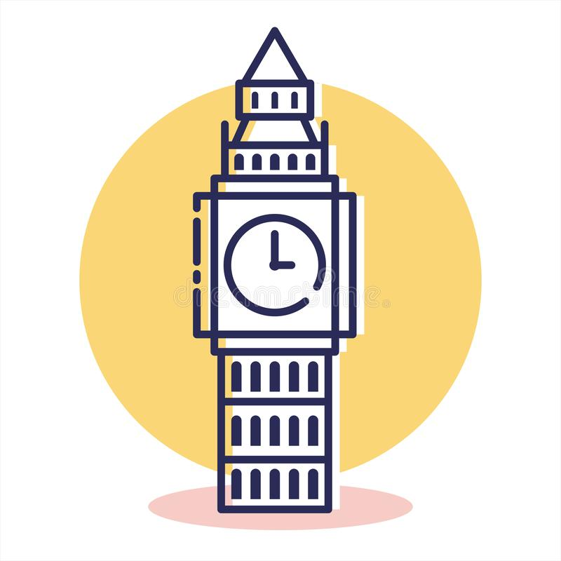 Travel and Destination. Bigben Icon - Travel and Destination with Outline Style royalty free illustration