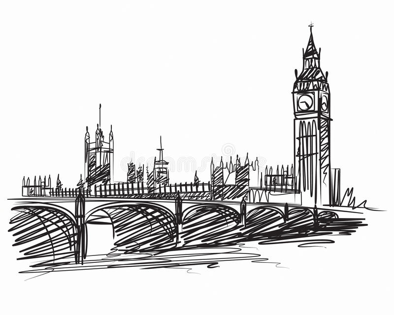 Bigben london. Abstract big ben with words London vector illustration