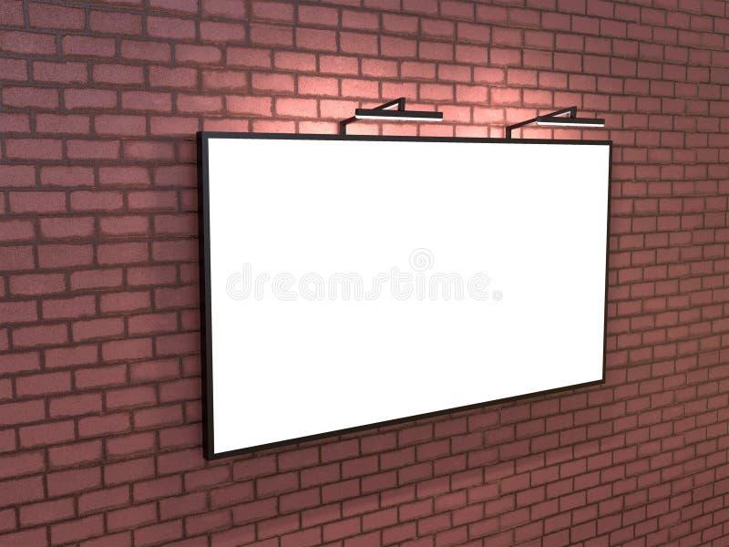 Bigboard in bianco sul muro di mattoni, rappresentazione 3D royalty illustrazione gratis