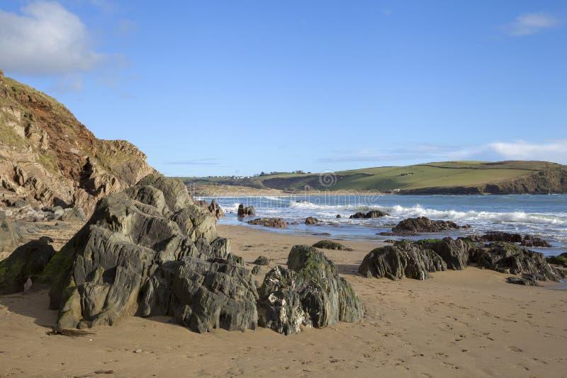 Bigbury på havet, Devon, England arkivbild