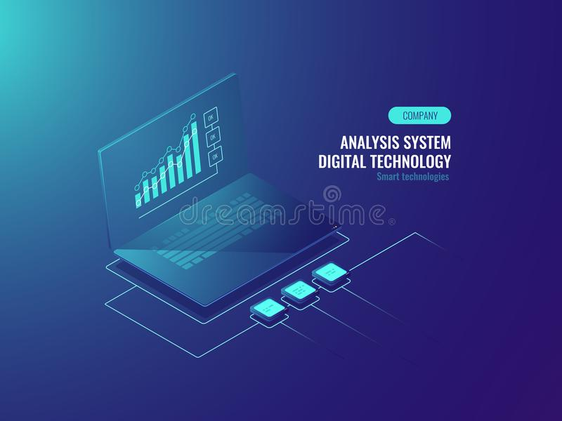 Bigdata报告,在膝上型计算机,企业和数据图,接踵而来的信息等量传染媒介屏幕上的数据统计  皇族释放例证
