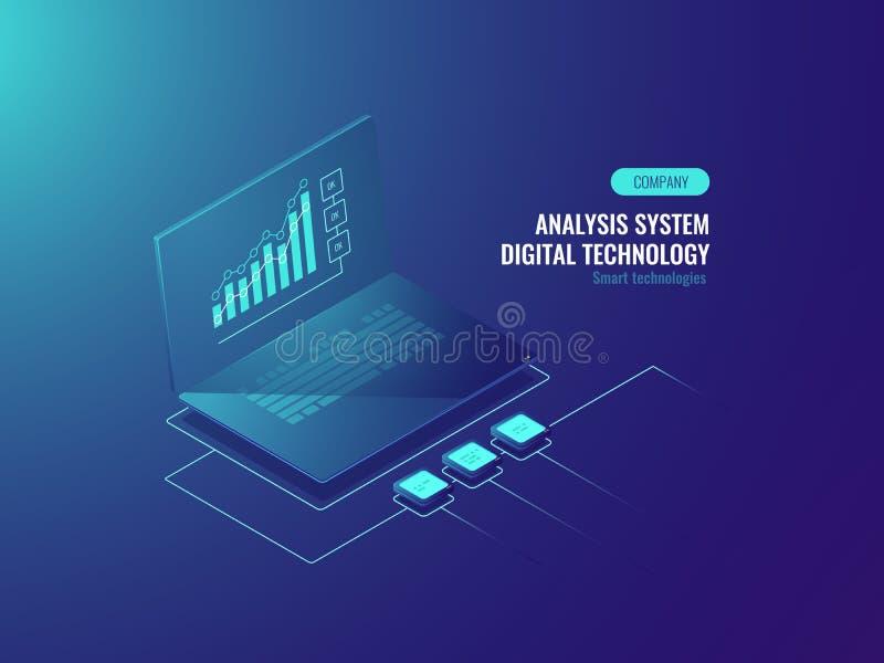 Bigdatarapport, gegevensstatistieken over het scherm van laptop, Bedrijfs en gegevensgrafieken, inkomende informatie isometrische royalty-vrije illustratie