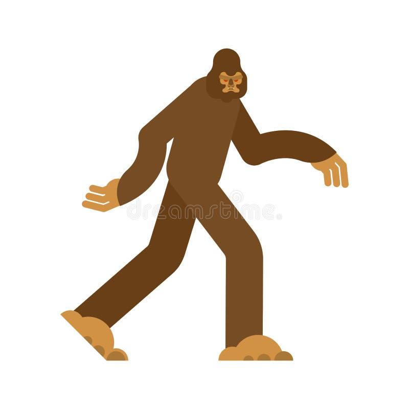 Bigfoot που απομονώνεται Yeti καφετί Αποτρόπαιος χιονάνθρωπος sasquatch διάνυσμα ελεύθερη απεικόνιση δικαιώματος