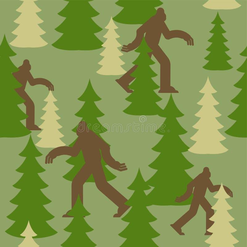 Bigfoot στο δασικό στρατιωτικό σχέδιο Σύσταση ιματισμού Yeti Υπόβαθρο στρατού sasquatch προστατευτική διακόσμηση στρατιωτών r απεικόνιση αποθεμάτων