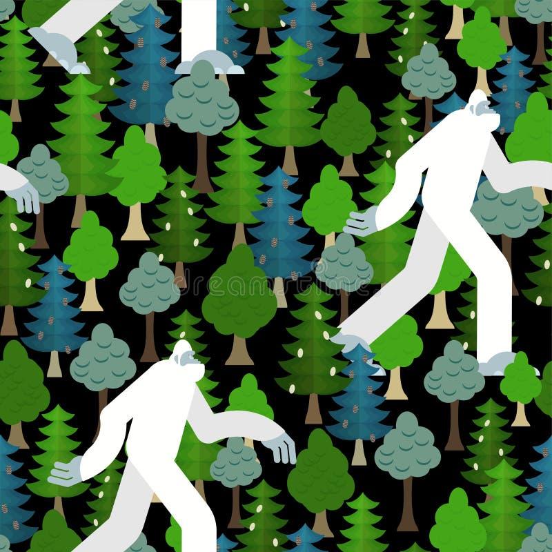 Bigfoot στο δασικό σχέδιο άνευ ραφής Yeti και υπόβαθρο δέντρων Αποτρόπαια διακόσμηση χιονανθρώπων sasquatch σύσταση διανυσματική απεικόνιση