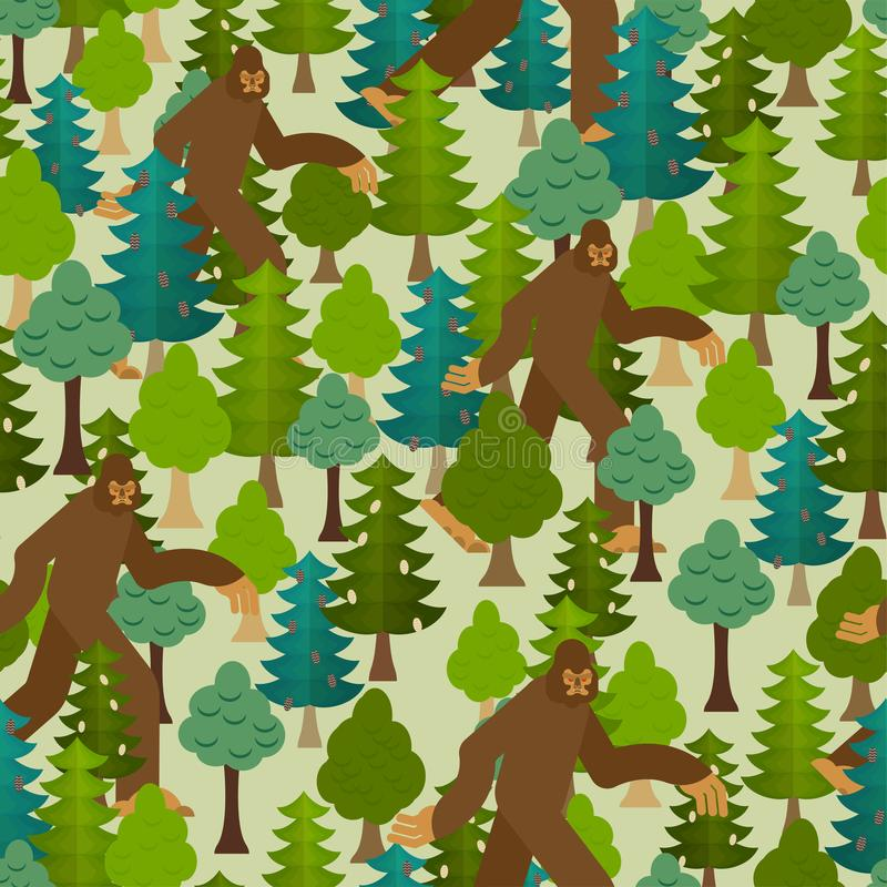 Bigfoot στο δασικό σχέδιο άνευ ραφής Yeti και υπόβαθρο δέντρων Αποτρόπαια διακόσμηση χιονανθρώπων sasquatch σύσταση απεικόνιση αποθεμάτων