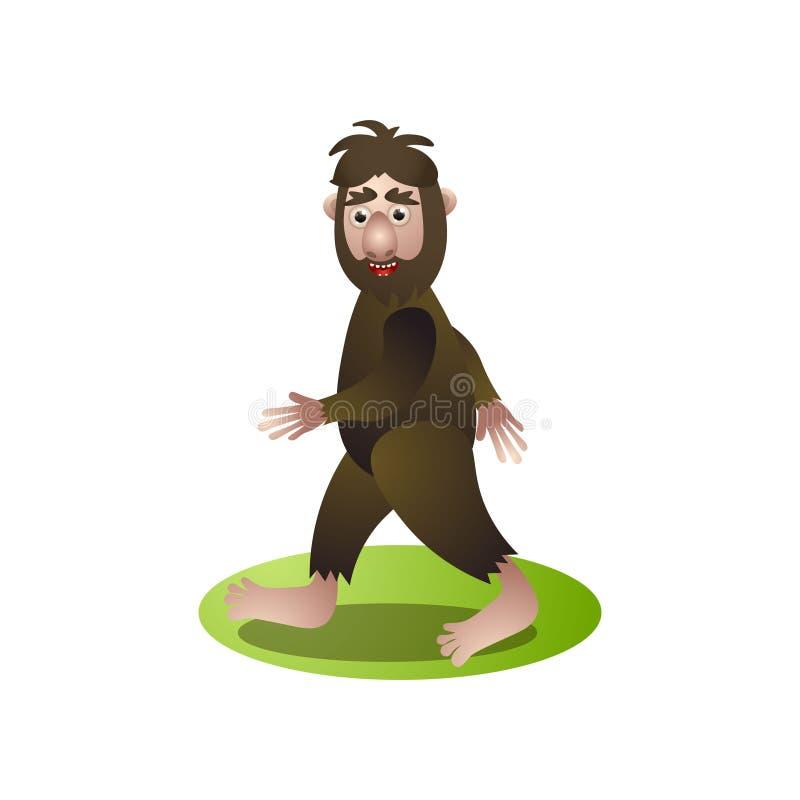 Bigfoot brun mignon, yeti marchant par la forêt profonde illustration libre de droits