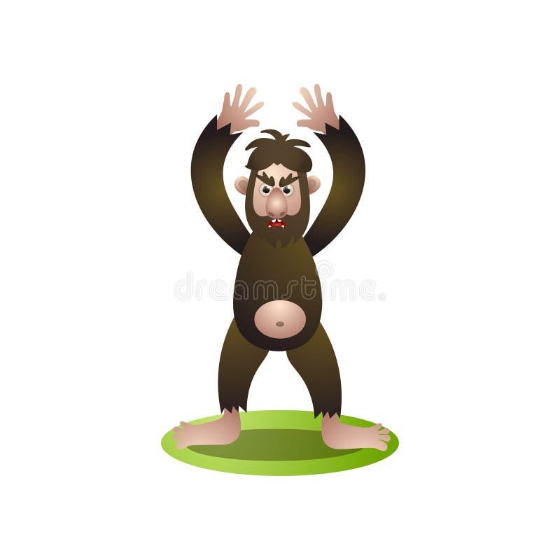 Bigfoot brun velu avec des mains vers le haut du séjour pour protéger sa maison illustration stock