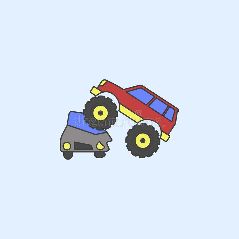 bigfoot car crushes cars field outline icon. Element of monster trucks show icon for mobile concept and web apps. Field outline bi stock illustration