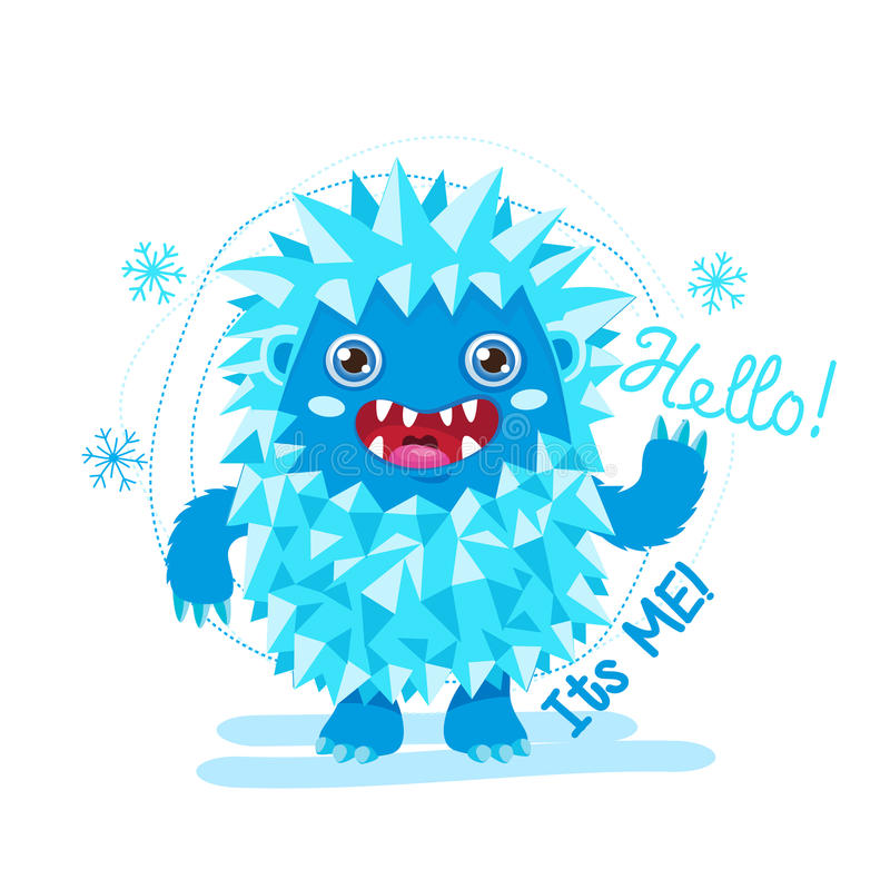 Bigfoot Cartoon Mascot. Funny Yeti On A White Background. For Kids T-Shirt Design. Happy Toy On A White Background. stock image