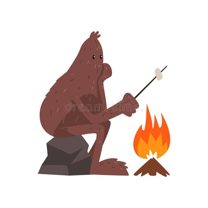 Bigfoot che si siede sulla caramella gommosa e molle vicina di pietra di torrefazione e del fuoco di accampamento, illustrazione  illustrazione vettoriale
