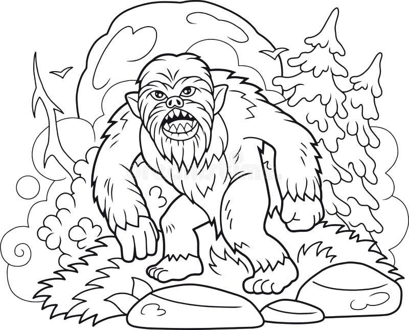 Bigfoot chodzi przez lasu ilustracji