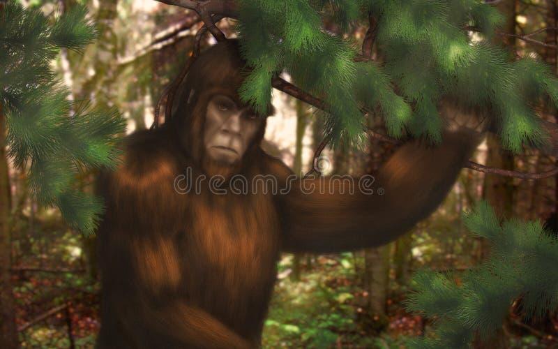 Bigfoot, der sich im Wald tagsüber versteckt lizenzfreie abbildung