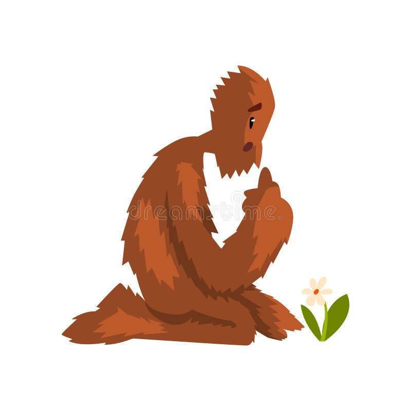 Bigfoot divertido que se sienta en sus rodillas y que mira la flor, ejemplo del vector del personaje de dibujos animados de la cr ilustración del vector