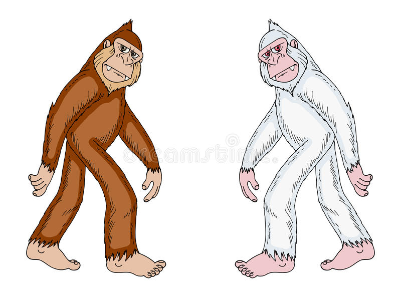 Bigfoot en yeti vector illustratie