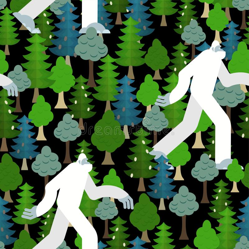 Bigfoot in forest pattern seamless. Yeti and trees background. Abominable snowman ornament. sasquatch texture vector illustration
