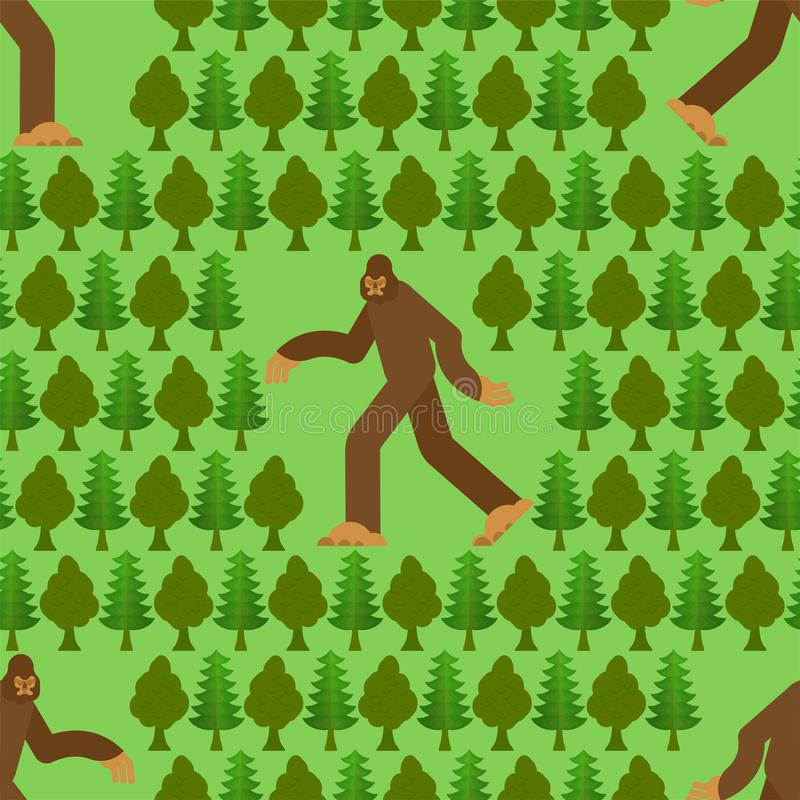 Bigfoot in forest pattern seamless. Yeti and trees background. Abominable snowman ornament. sasquatch texture stock illustration