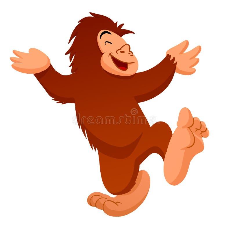 Bigfoot kreskówki dancingowa ilustracja royalty ilustracja