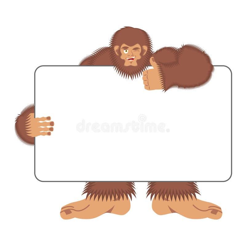 Bigfoot mienia sztandaru puste miejsce Yeti i biały puste miejsce Obrzydliwy s ilustracja wektor