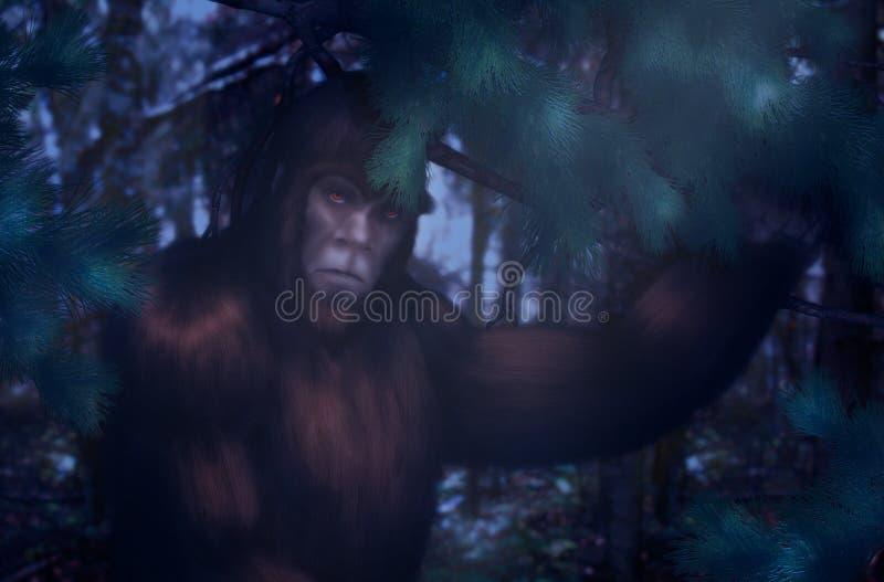 Bigfoot natt som döljer i träna royaltyfri illustrationer