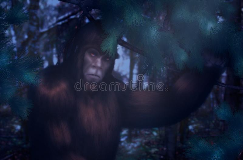 Bigfoot noc chuje w drewnach royalty ilustracja