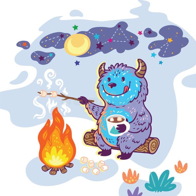 Bigfoot piec marshmallows nad ogniskiem Wektorowa ilustracja w kreskówka stylu ilustracja wektor