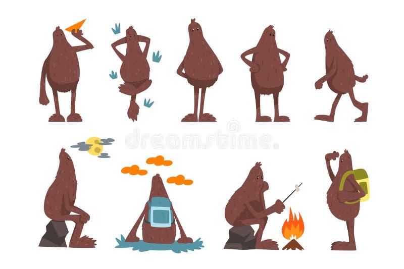 Bigfoot posta? z kresk?wki - set, ?mieszna mityczna istota w r??nych sytuacj wektorowych ilustracjach na bielu ilustracji