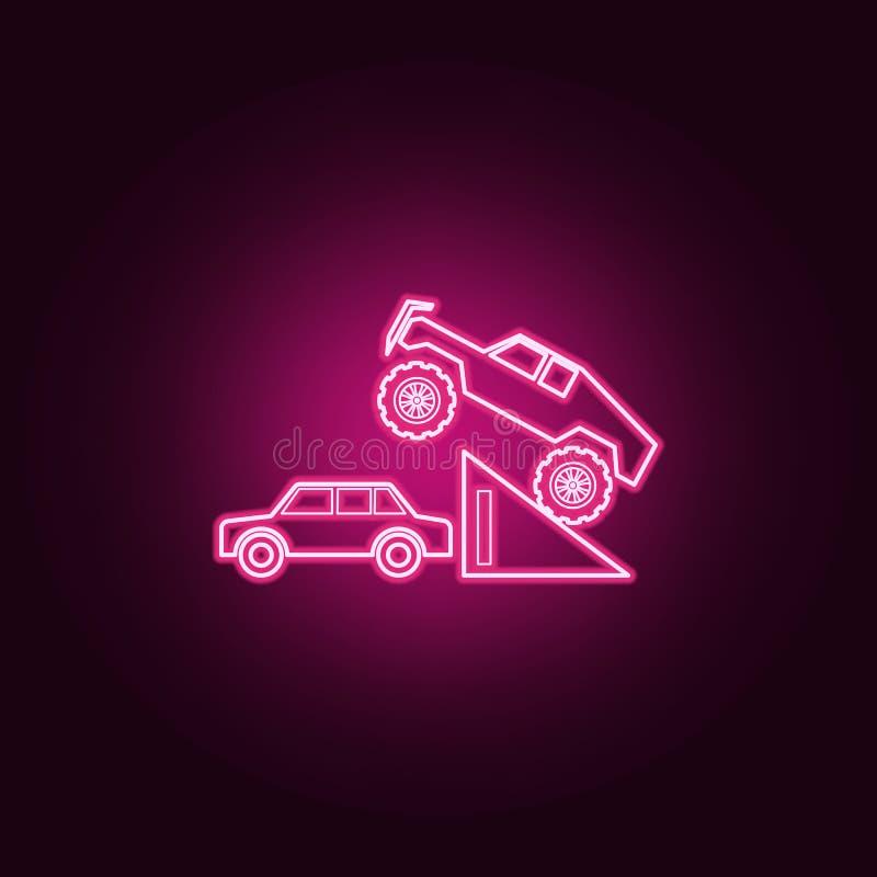 Bigfoot samochód w skok neonowej ikonie Elementy Bigfoot samochodu set Prosta ikona dla stron internetowych, sie? projekt, mobiln ilustracji