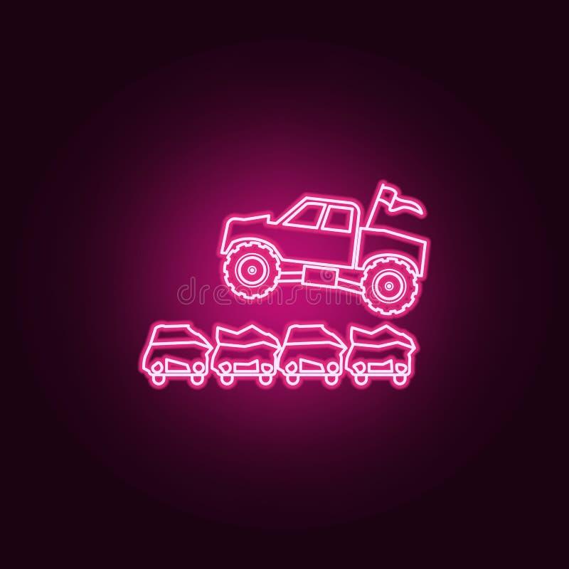 Bigfoot samochodowy doskakiwanie przez samochód neonowej ikony Elementy Bigfoot samochodu set Prosta ikona dla stron internetowyc ilustracja wektor