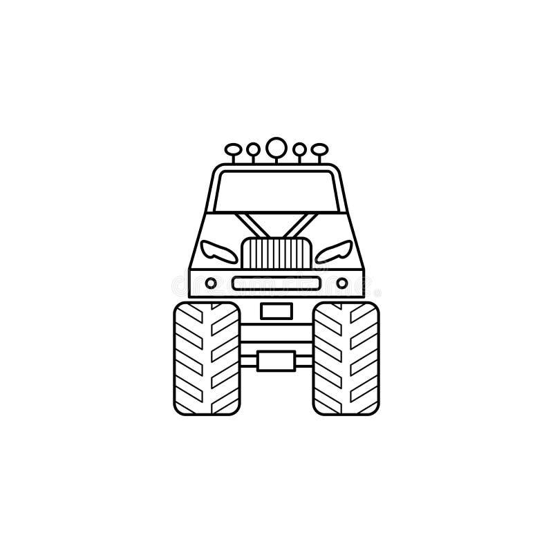 bigfoot samochodu przodu ilustracja Element ekstremum ściga się dla mobilnych pojęcia i sieci apps Cienka kreskowa Bigfoot samoch royalty ilustracja