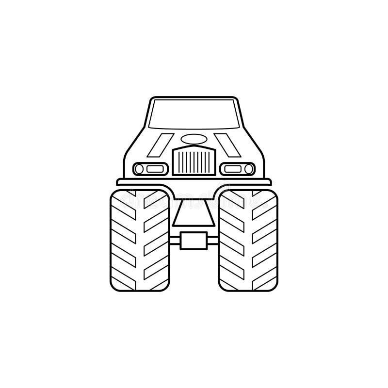 bigfoot samochodu przodu ilustracja Element ekstremum ściga się dla mobilnych pojęcia i sieci apps Cienka kreskowa Bigfoot samoch ilustracji