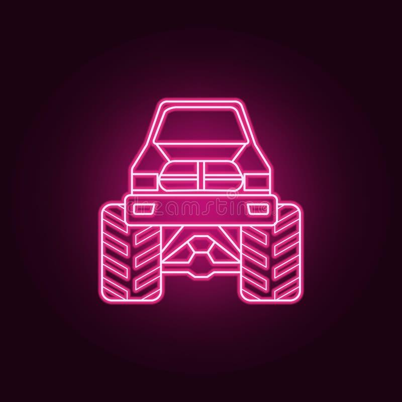 Bigfoot samochodu przodu neonowa ikona Elementy Bigfoot samochodu set Prosta ikona dla stron internetowych, sie? projekt, mobilny ilustracja wektor